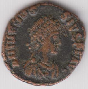 AE4 de Teodosio I. VOT X / MVLT / XX dentro de corona. Antioch. Ir235a