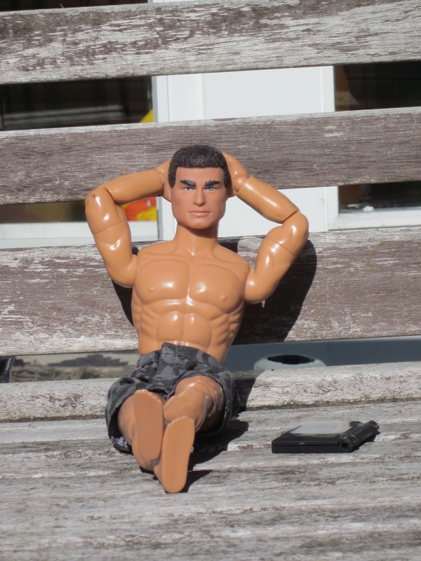 Action Man outside in the sunshine working.  (Ackie88) IMG_2538