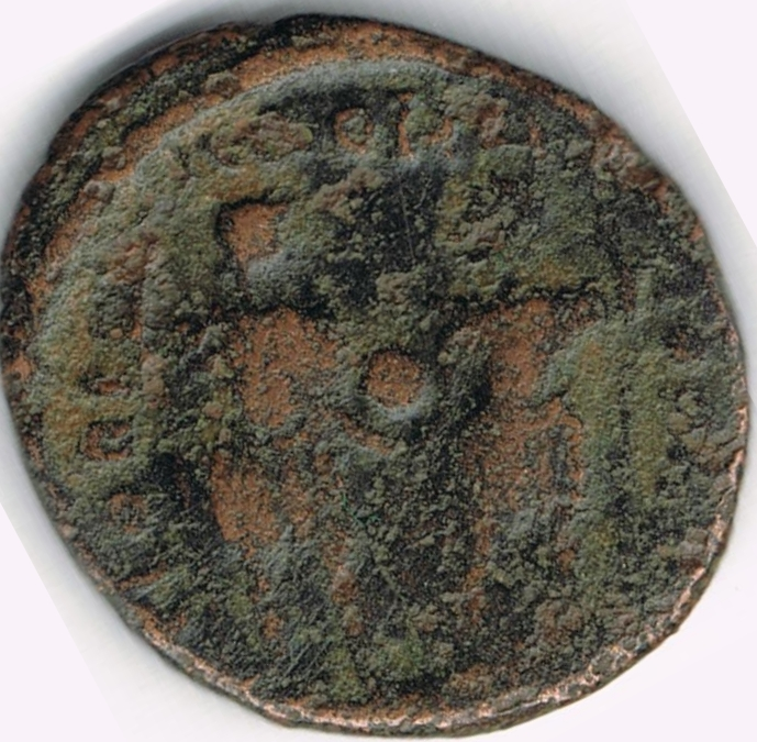 AE4 de Teodosio II. GLORI-A ROMA-NORVM. Teodosio II y Honorio. IR6_B