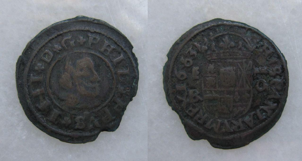 16 maravedis 1663. Felipe IV. Segovia. 16_maravedies_1663_Segovia_Felipe_IV