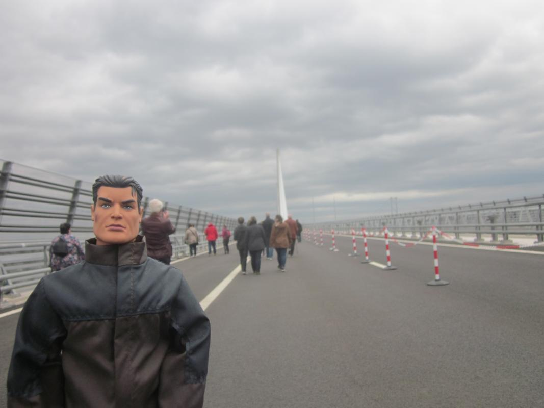 Action Man walking over the Queensferry Crossing. IMG_5360