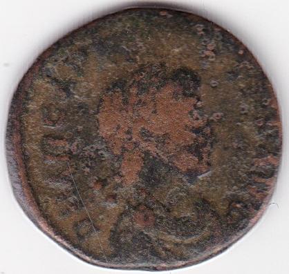 AE4 de Arcadio - VIRTVS EXERCITI. Emperador coronado por Victoria. Constantinopolis. Ir252a