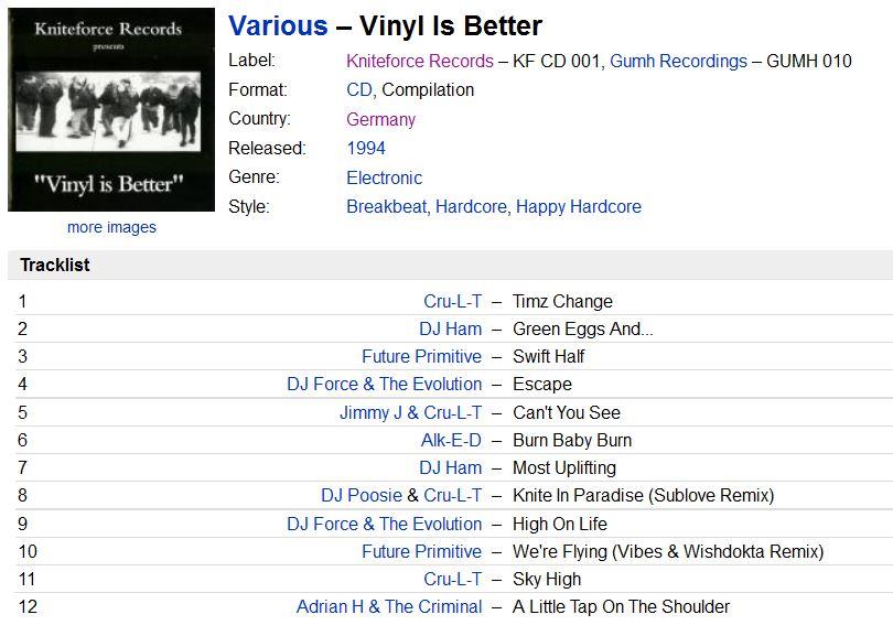 [Breakbeat, Hardcore, Happy Hardcore]  Various – Vinyl Is Better (1994) 320k Capturar