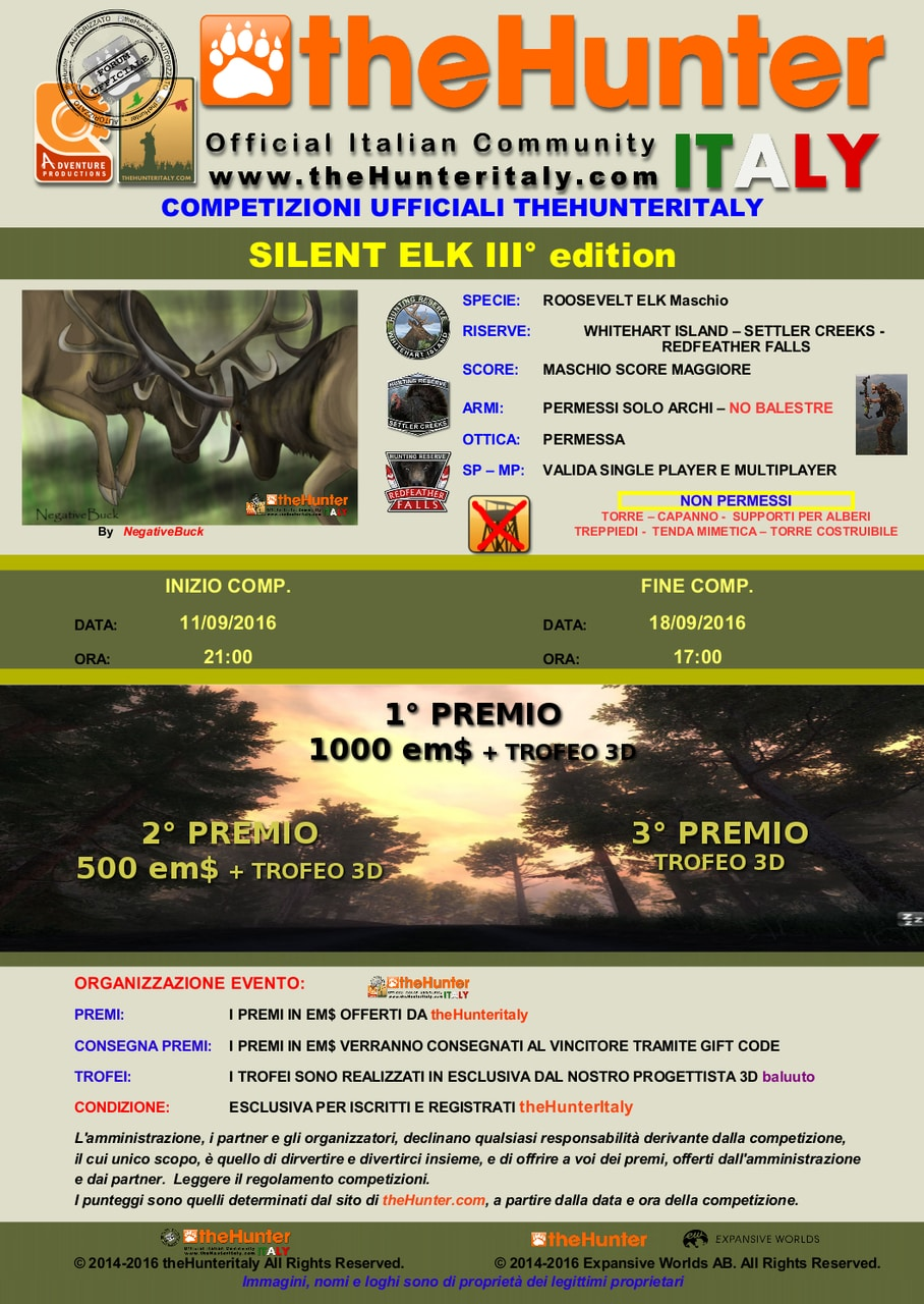 [CONCLUSA] Competizioni Ufficiali theHunterItaly:  - Silent Elk III edition - Roosevelt Elk SILENT_ELK_III_EDITION