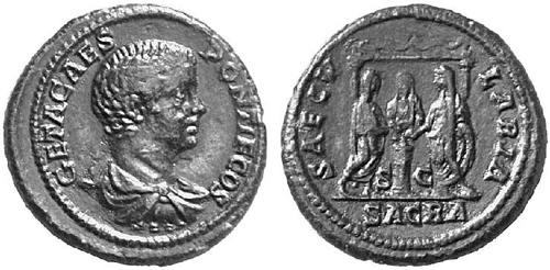 Antoniniano de Otacilia Severa. SAECVLARES AVGG. Hipopótamo. Geta_dup_saecvlaria