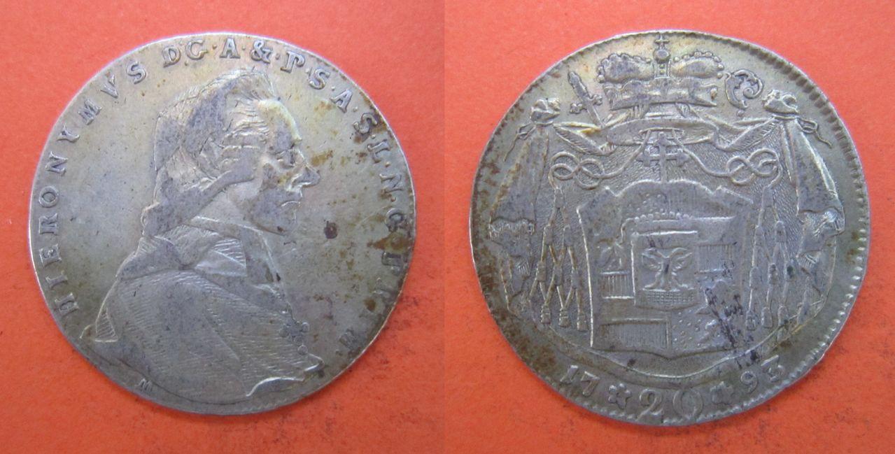 20 kreuzer 1793. Arzobispado de Salzburgo. Hyeronimus von Colloredo 20_kreuzer_1793_Salzburgo