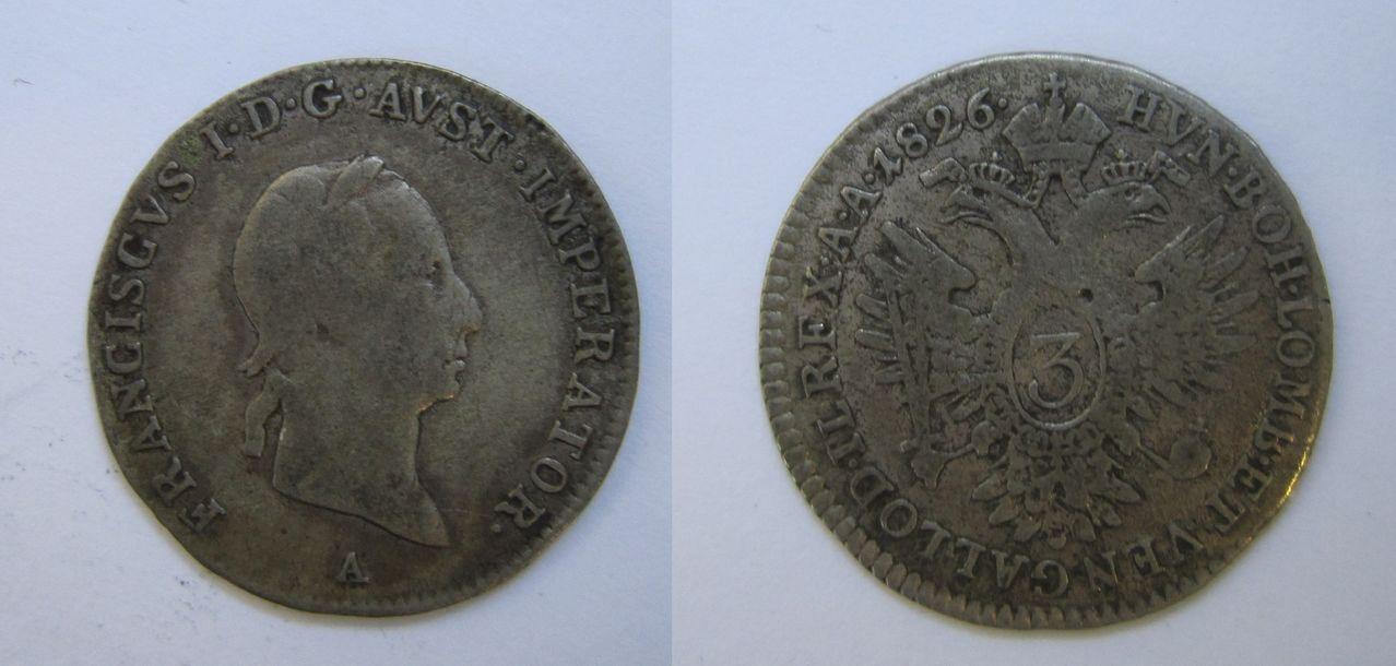 3 kreuzer 1826. Viena. Francisco I de Austria 3_kreuzer_Viena_1826_Francisco_I