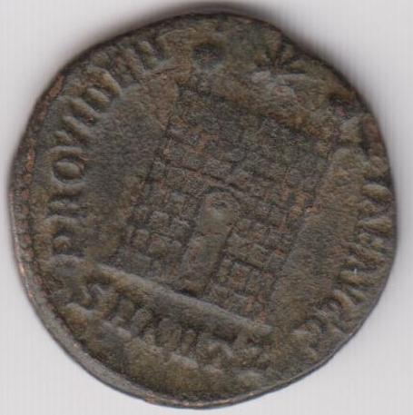 AE3 de Constantino I - PROVIDENTIAE AVGG. Puerta de Campamento. Antioquia. Ir239b