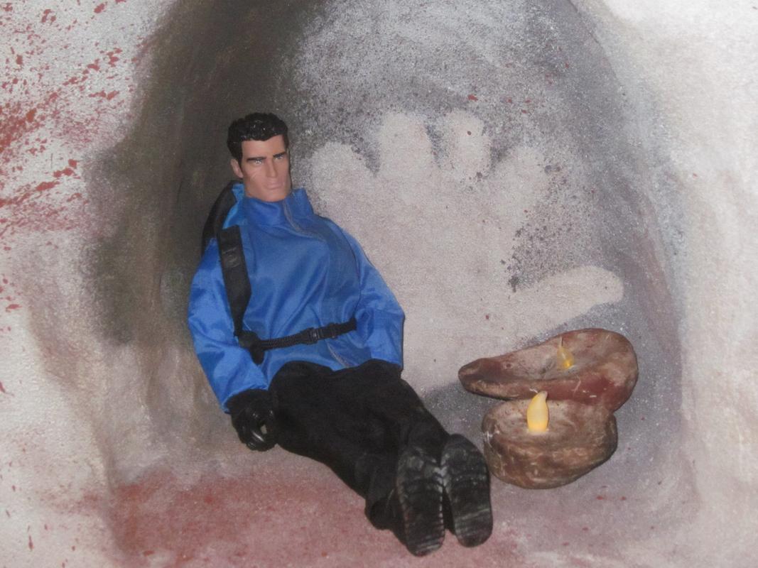 Action Man exploring a fake cave. IMG_5601