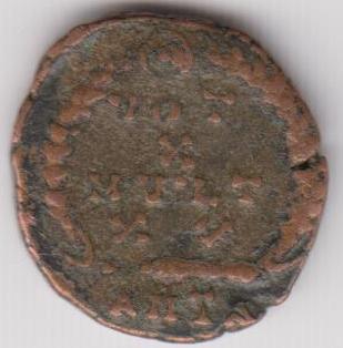 AE4 de Teodosio I. VOT X / MVLT / XX dentro de corona. Antioch. Ir235b
