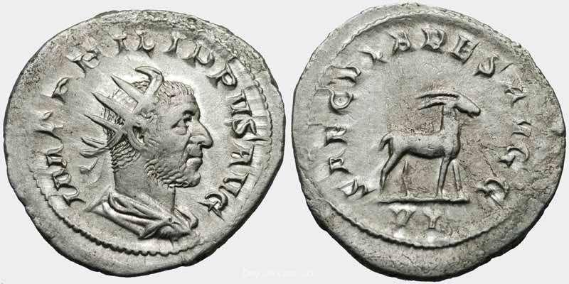 Antoniniano de Otacilia Severa. SAECVLARES AVGG. Hipopótamo. RIC_0022