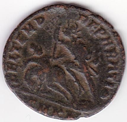 AE3 de Constancio Galo. FEL TEMP REPARATIO. Soldado romano alanceando a jinete caído. Cycico IR101_B