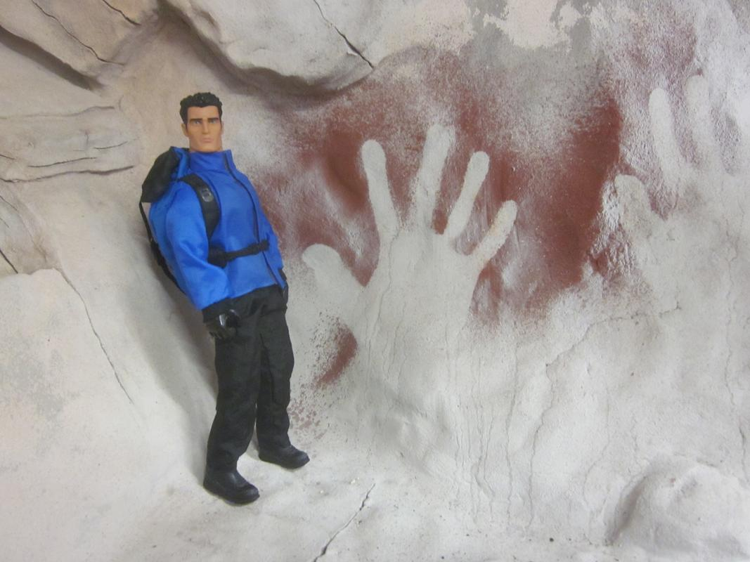 Action Man exploring a fake cave. IMG_5597