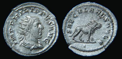 Antoniniano de Otacilia Severa. SAECVLARES AVGG. Hipopótamo. RIC_0012