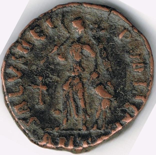 AE4 de Teodosio I. SALVS REI PVBLICAE. Antioquía IR9_B