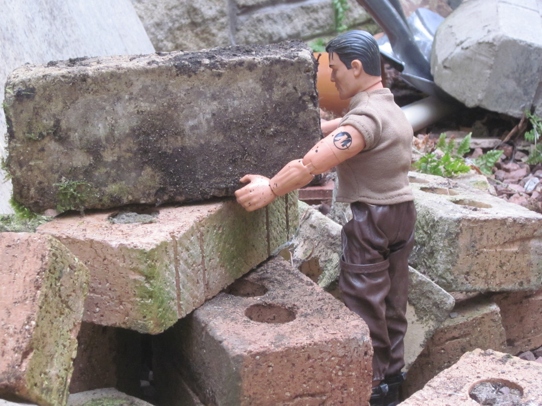 Action Man helping to build a stone and slate shed IMG_2954