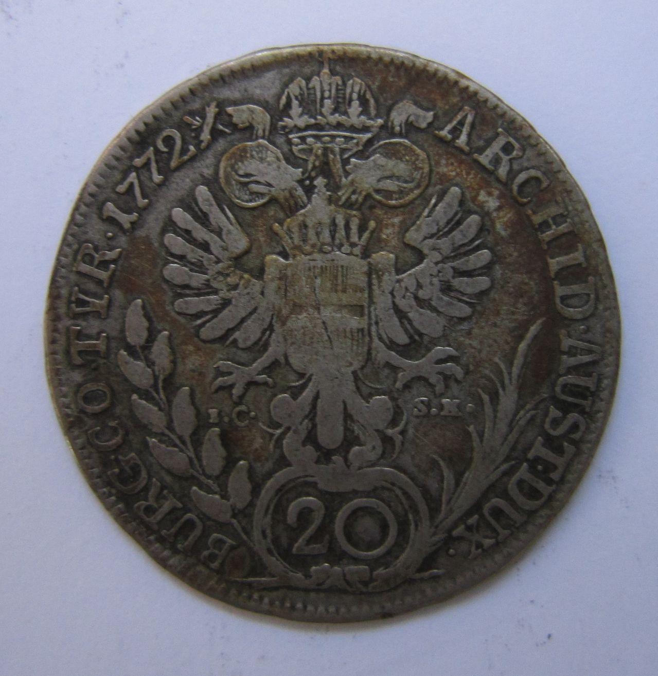 20 kreuzer 1772. Viena (Austria). Maria Theresa I. 20_kreuzer_1772_Viena_rev