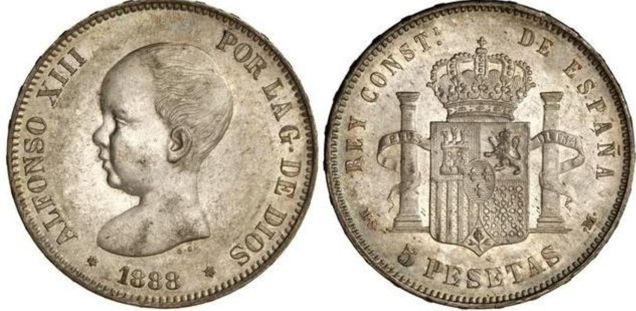 5 pesetas de Alfonso XIII-1888*88-MSM..ORIGINAL? Image