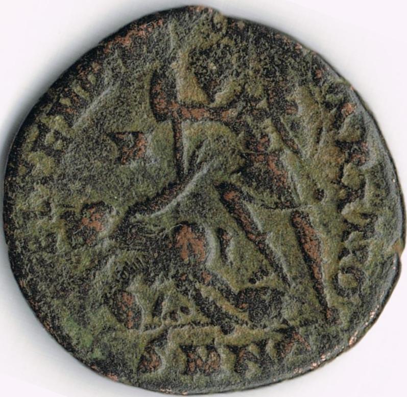 AE3 de Constancio II. FEL TEMP REPARATIO. Soldado romano alanceando a jinete caído. Nicomedia IR50_B