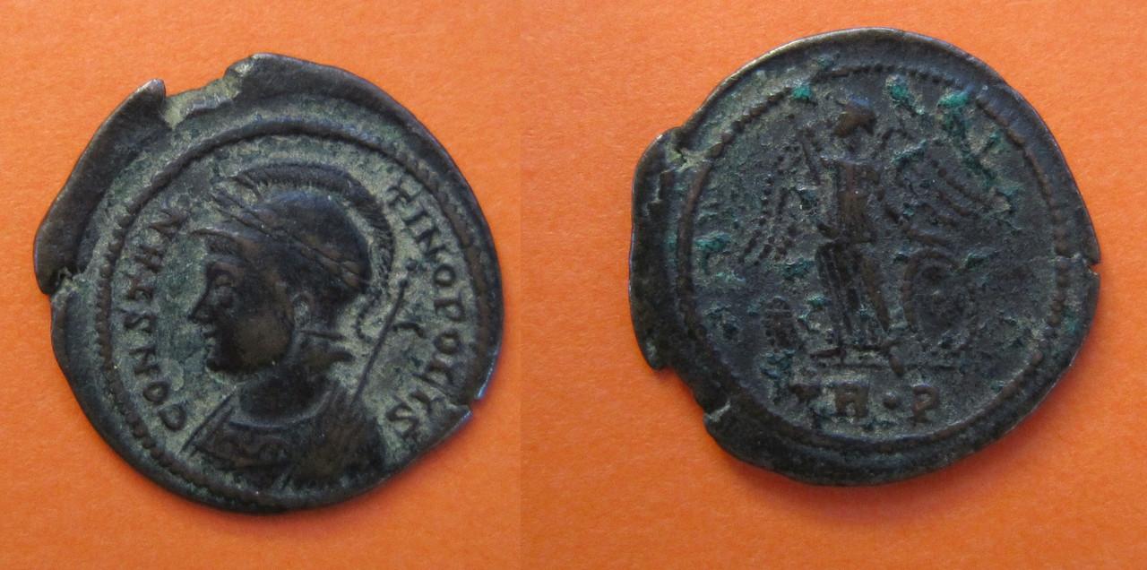 AE3 conmemorativa de Constantinopla. Trier. AE3_Constantino_332_333