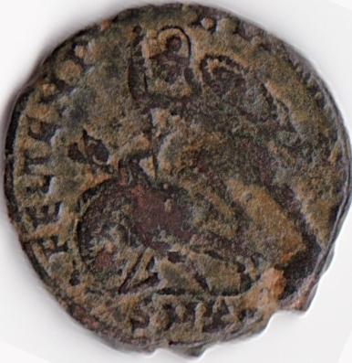 AE4 de Constancio II. FEL TEMP - REPARATIO . Soldado romano alanceando a jinete caído. Cyzicus. IR65_B