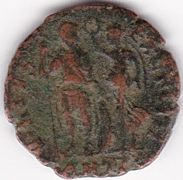 AE4 de Honorio. VIRTVS EXERCITI. Emperador coronado por Victoria. Antioch. IR66_B