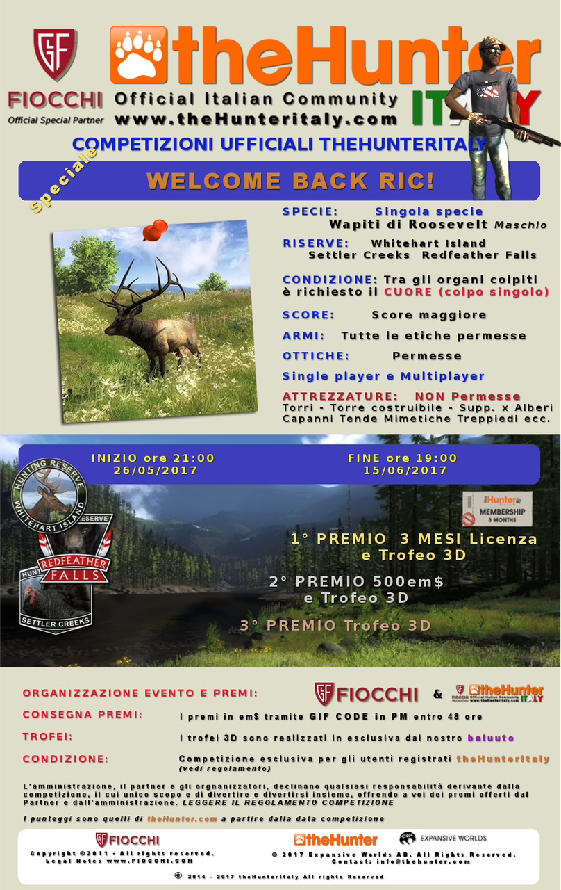 [CONCLUSA] Competizioni ufficiali TheHunteritaly - Welcome Back Ric! - Wapiti di Roosevelt - Variazione_Whelcome_back_RIc_locandina