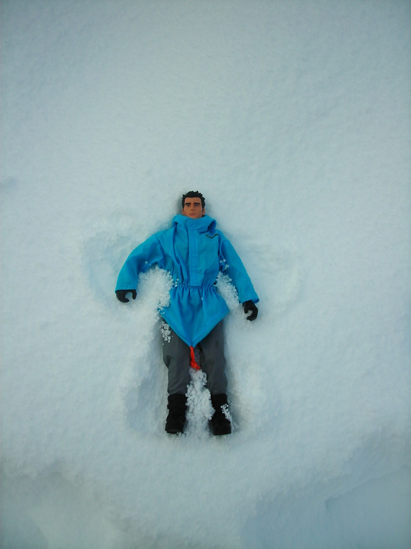 Action Man making a snow angel.  (Ackie88) DSCN1735