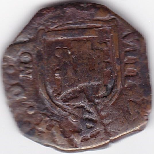 8 Maravedis de Felipe III/IV, Madrid, resellados. Es43b