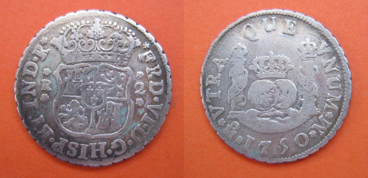 Guía de los reales de a 2 columnarios, Cecas Americanas (1732-1771) 2_reales_1750_M_xico_Fernando_VI