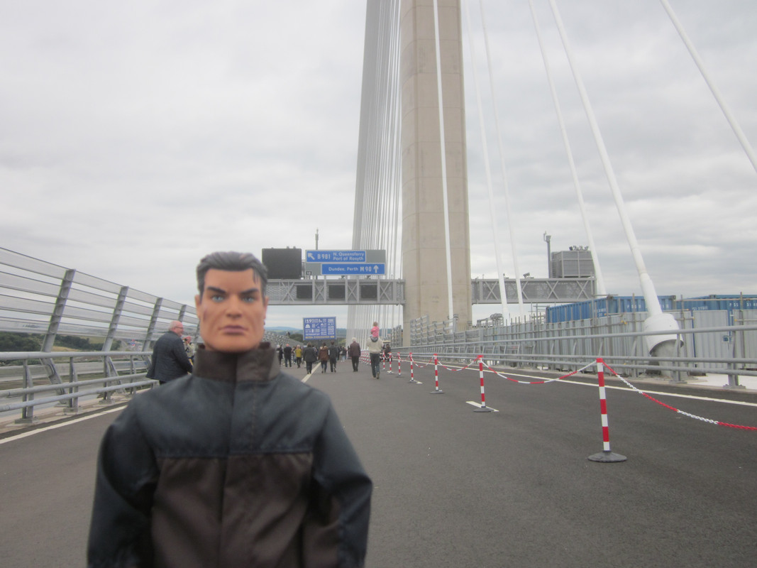 Action Man walking over the Queensferry Crossing. IMG_5416
