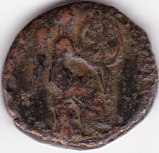 AE4 de Aelia Eudoxia. SALVS REI-PVBLICAE con Victoria sedente a dcha. IR67_B