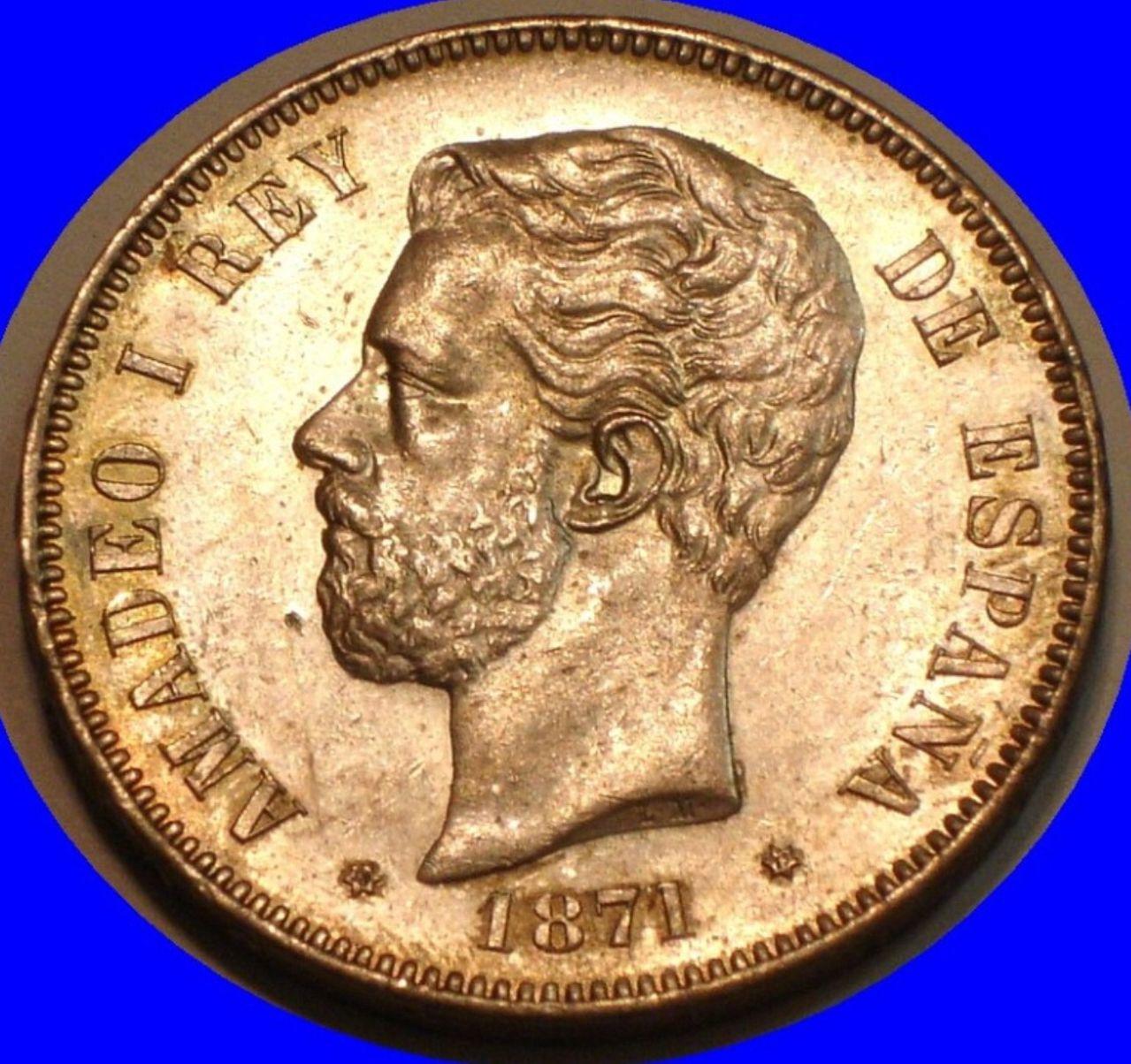 1871 *71. 5 pesetas Amadeo I variante incusa. Image
