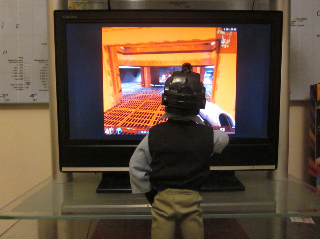 My Action Man playing a Virtual Reality shooting game. (Ackie88) IMG_2204