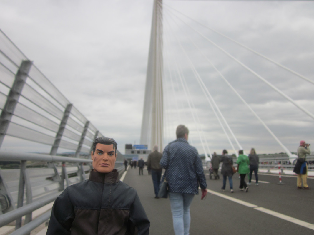 Action Man walking over the Queensferry Crossing. IMG_5415