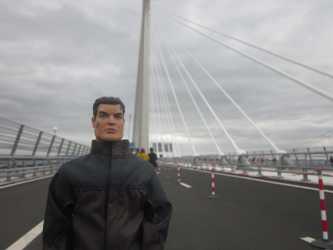 Action Man walking over the Queensferry Crossing. IMG_5397