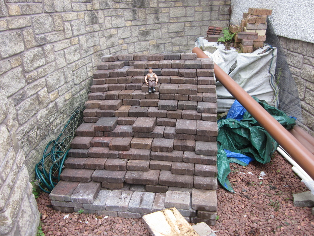 Action Man helping to build a stone and slate shed IMG_2950