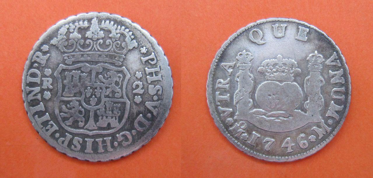 Guía de los reales de a 2 columnarios, Cecas Americanas (1732-1771) 2_reales_1746_M_xico_Felipe_V