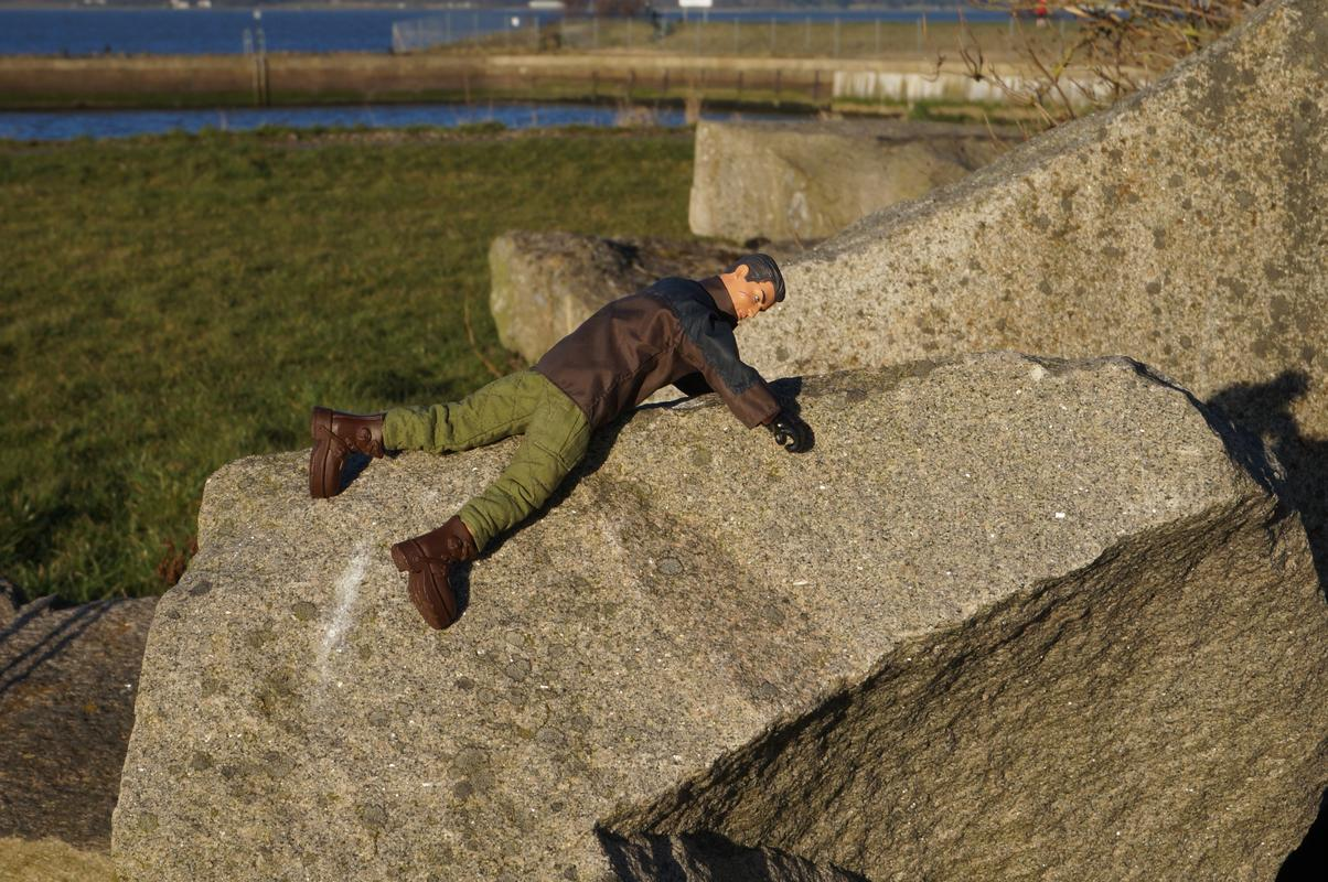 Action Man climbing a rock.  1_A70_F6_D2-10_BD-465_F-9855-12342_F778_DC5