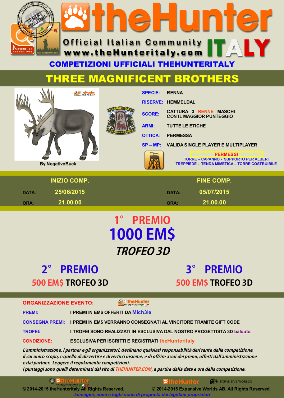 [CONCLUSA]  Competizioni ufficiali thehunteritaly - THREE MAGNIFICENT BROTHERS - RENNA Hemmeldal MGNIFICI_3_FRATELLI_25_06_2015