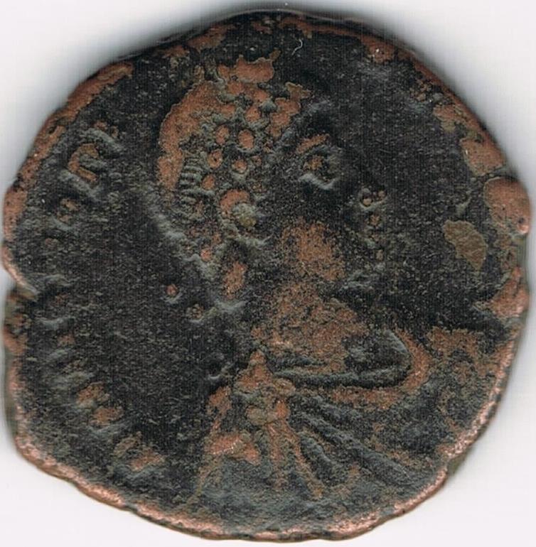AE3 de Honorio. VIRTVS EXERCITI. Antioquía IR10_A