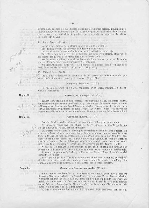 Documentación de cascos. Reglamento_1943