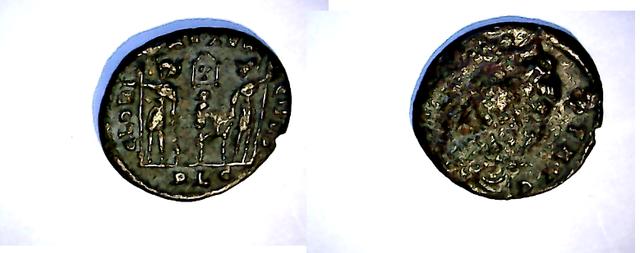 Moneda de algún familiar de Constantino I. GLORIA EXERCITVS. Lyon. N_3