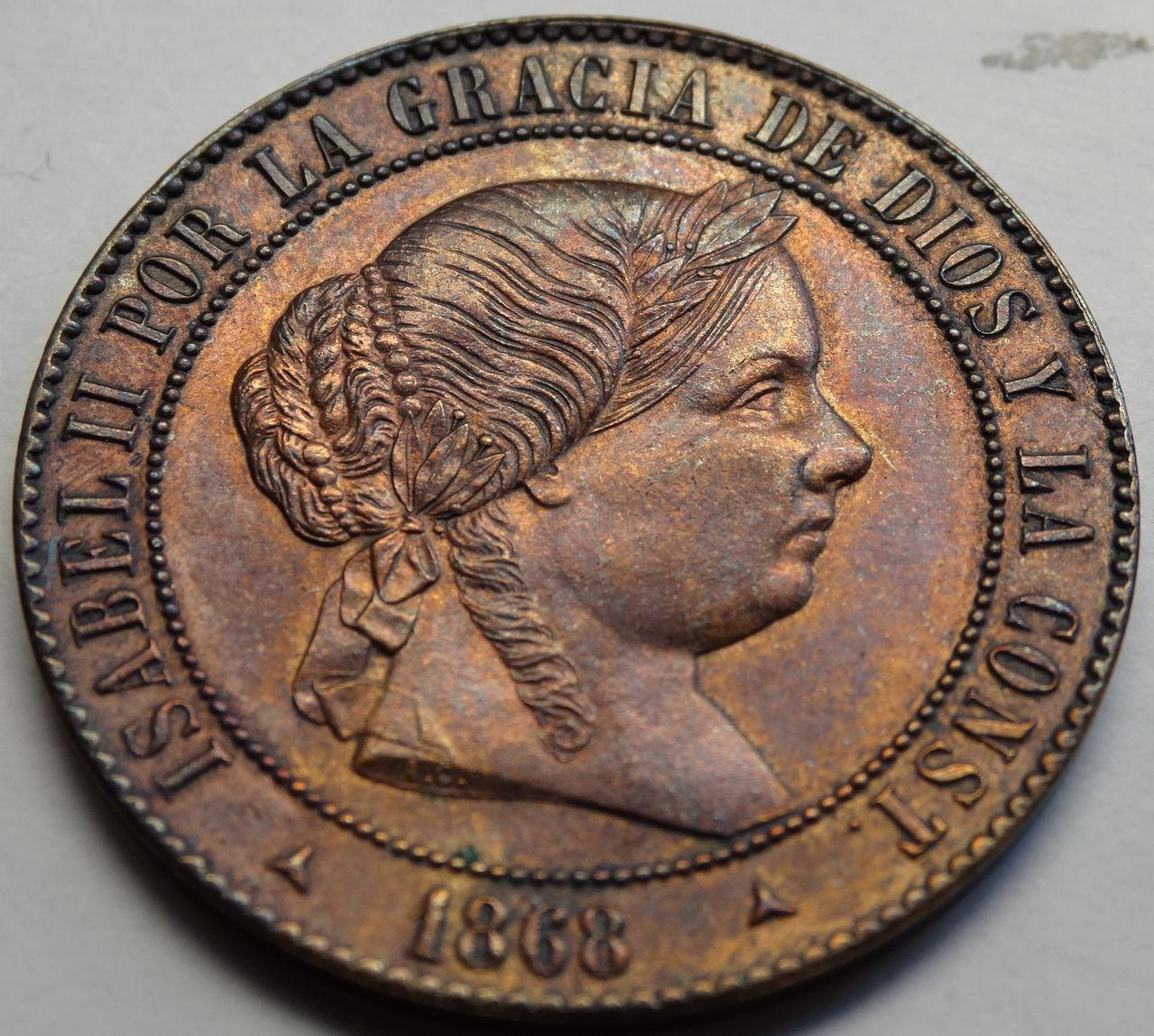 5 CENTIMOS DE ESCUDO 1868 SEGOVIA ISABEL II SC DSC02486