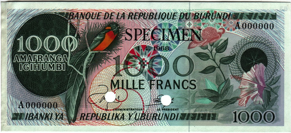 1000 Francos Burundi, 1968 (Prueba de color) Burundi_P25cta
