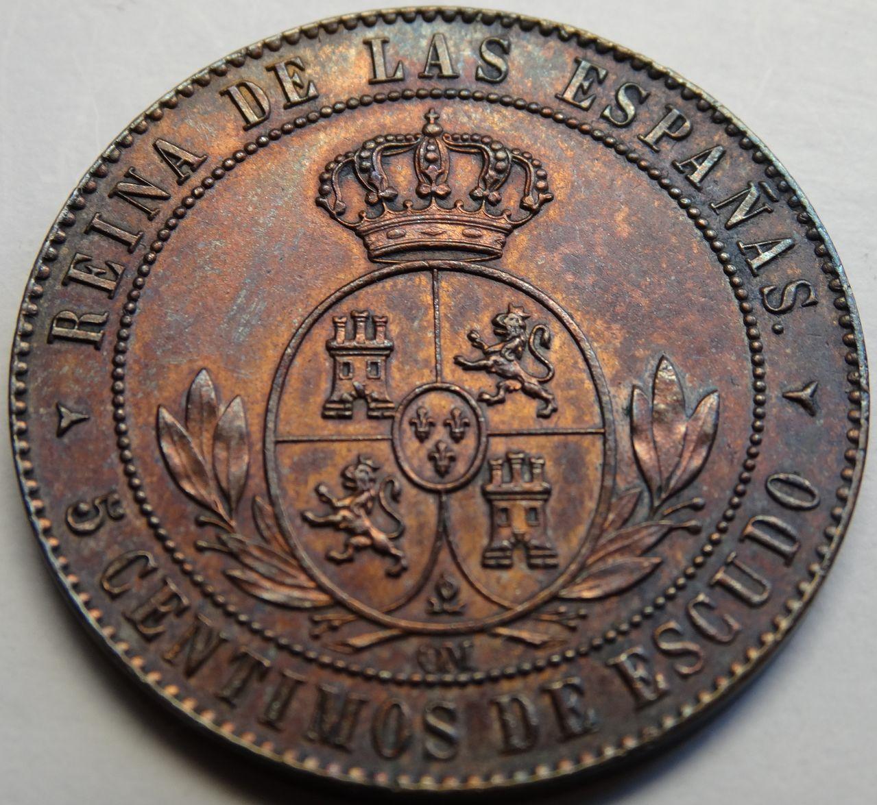 5 CENTIMOS DE ESCUDO 1868 SEGOVIA ISABEL II SC DSC02488