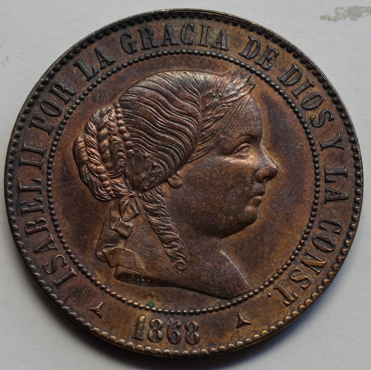 5 CENTIMOS DE ESCUDO 1868 SEGOVIA ISABEL II SC DSC02485