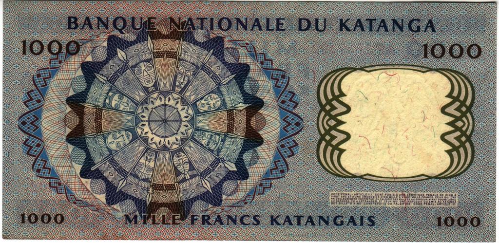 1000 francos Katanga 1962 Katanga_P14b
