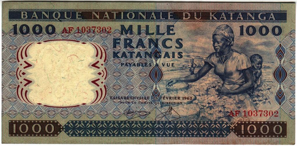 1000 francos Katanga 1962 Katanga_P14a