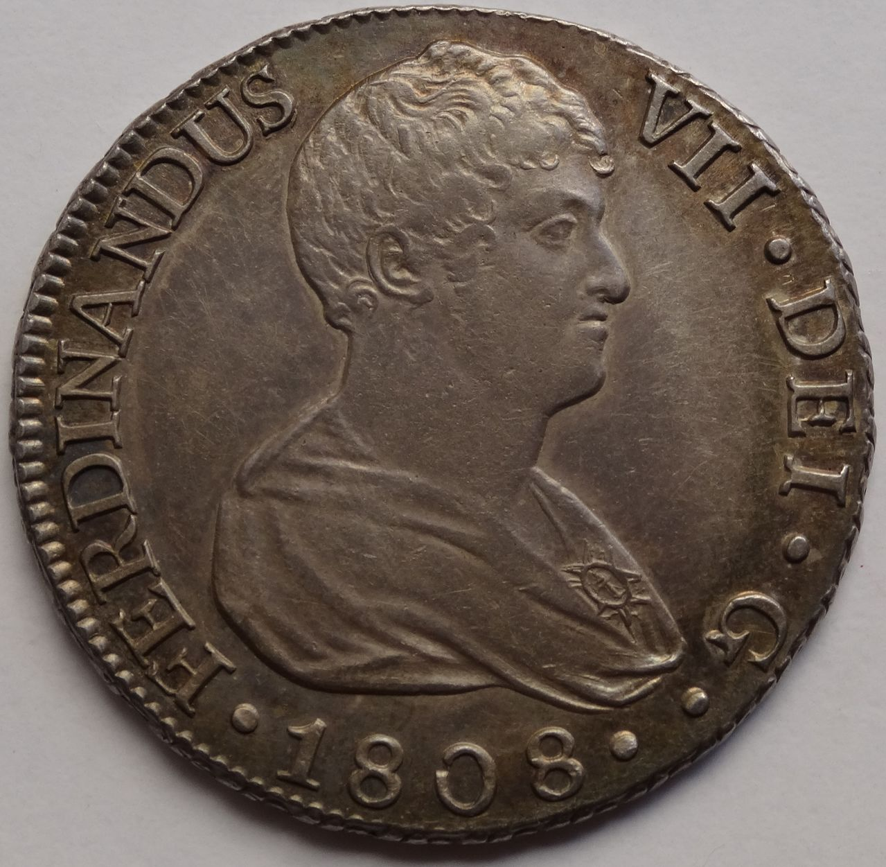 8 REALES FERNANDO VII 1808 SEVILLA BUSTO DESNUDO DSC03639